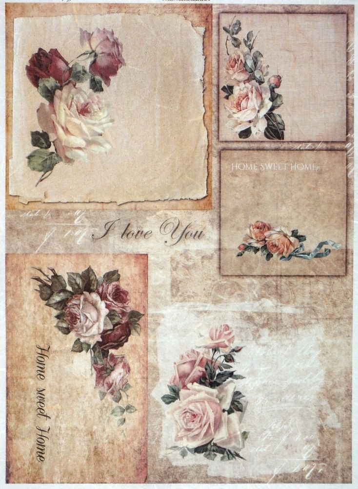 Rice Paper for Decoupage Decopatch Scrapbook Craft Sheet Antique Frame