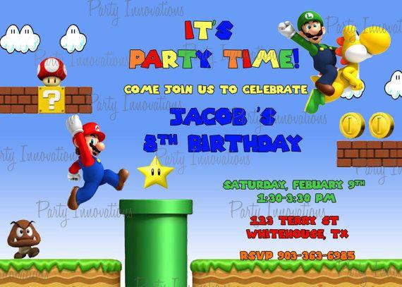Printable Super Mario Bros Birthday Party Invitation plus free – Mario Bros Birthday Invitations