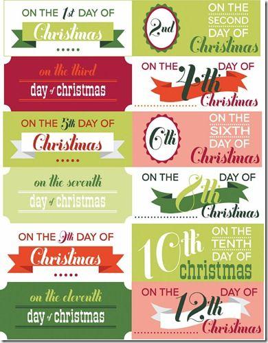 Free printable 12 days of christmas gift tags