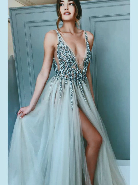 Gray Sequined Deep V Neck Prom Dress with Left Slit, A Line Tulle Evening Dress N1248