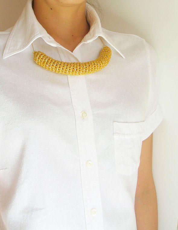 DIY crochet tube necklace/ Hazlo tú mismo, collar de tubo a ...