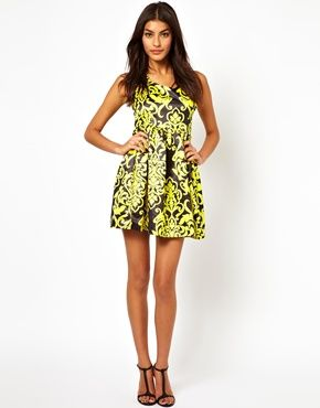 black & chartois print party dress
