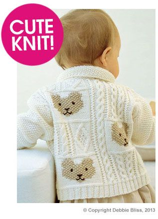 Debbie Bliss Cable And Teddy Bear Jacket Pattern Deramores 6 18mos