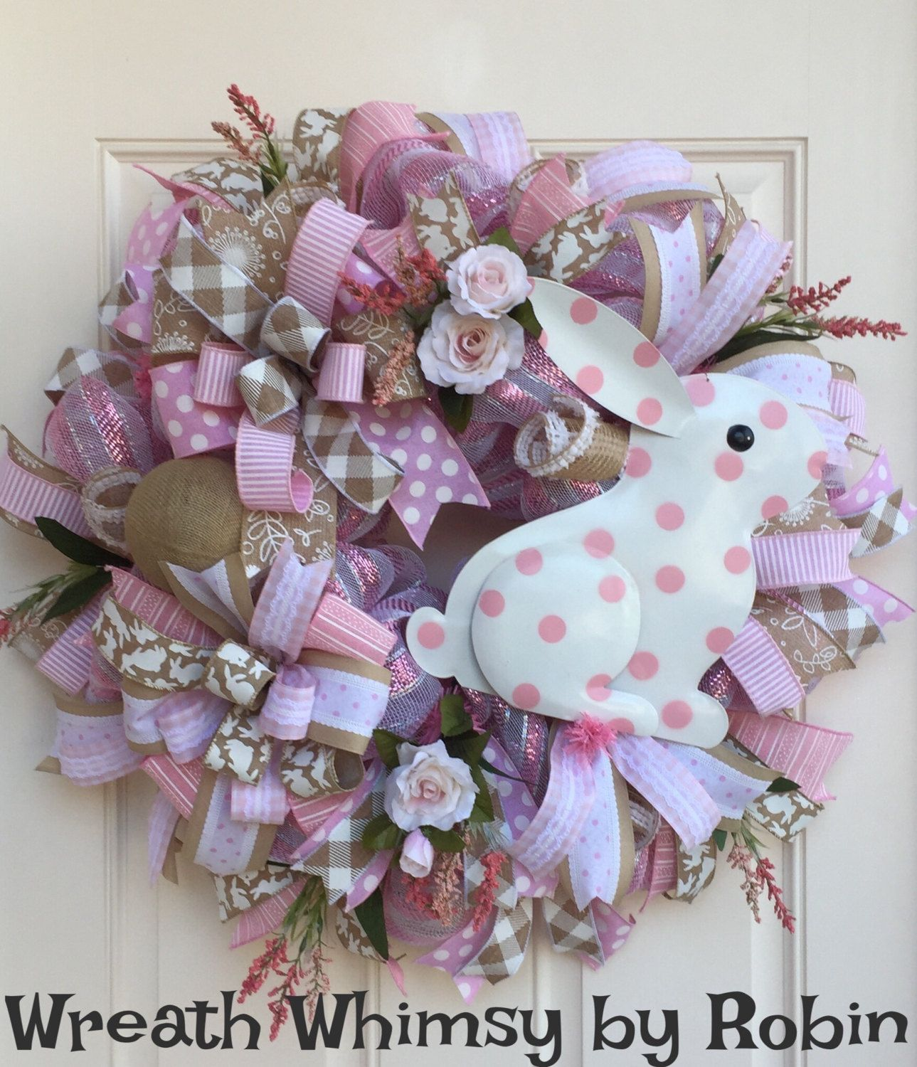 Spring Deco Mesh Polka Dot Bunny Wreath in Pink and Tan, Easter ...