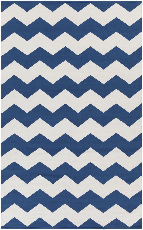 Blue White Zig Zag Chevron Rug Rugs