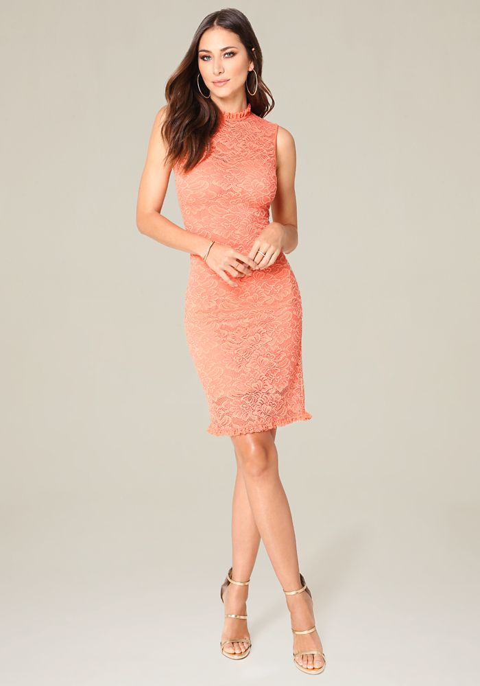 e666bc1cf078 Bebe Women's Meghan Lace Dress, X Small, Coral | Products | Lace ...