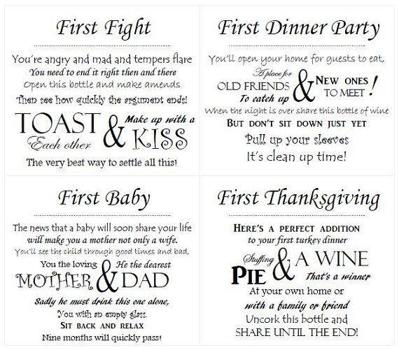 Bridal Shower Gift Basket Climbing On House Halloween: Wedding Wine Poem Tags / PDF / DIY