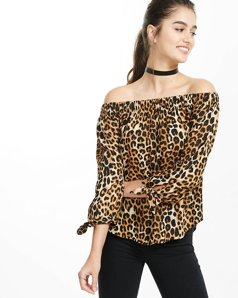 2241dc66406d4 leopard print off the shoulder tie sleeve blouse