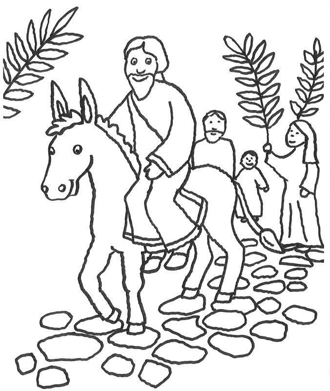 ausmalbild szenen aus der bibel prozession am palmsonntag