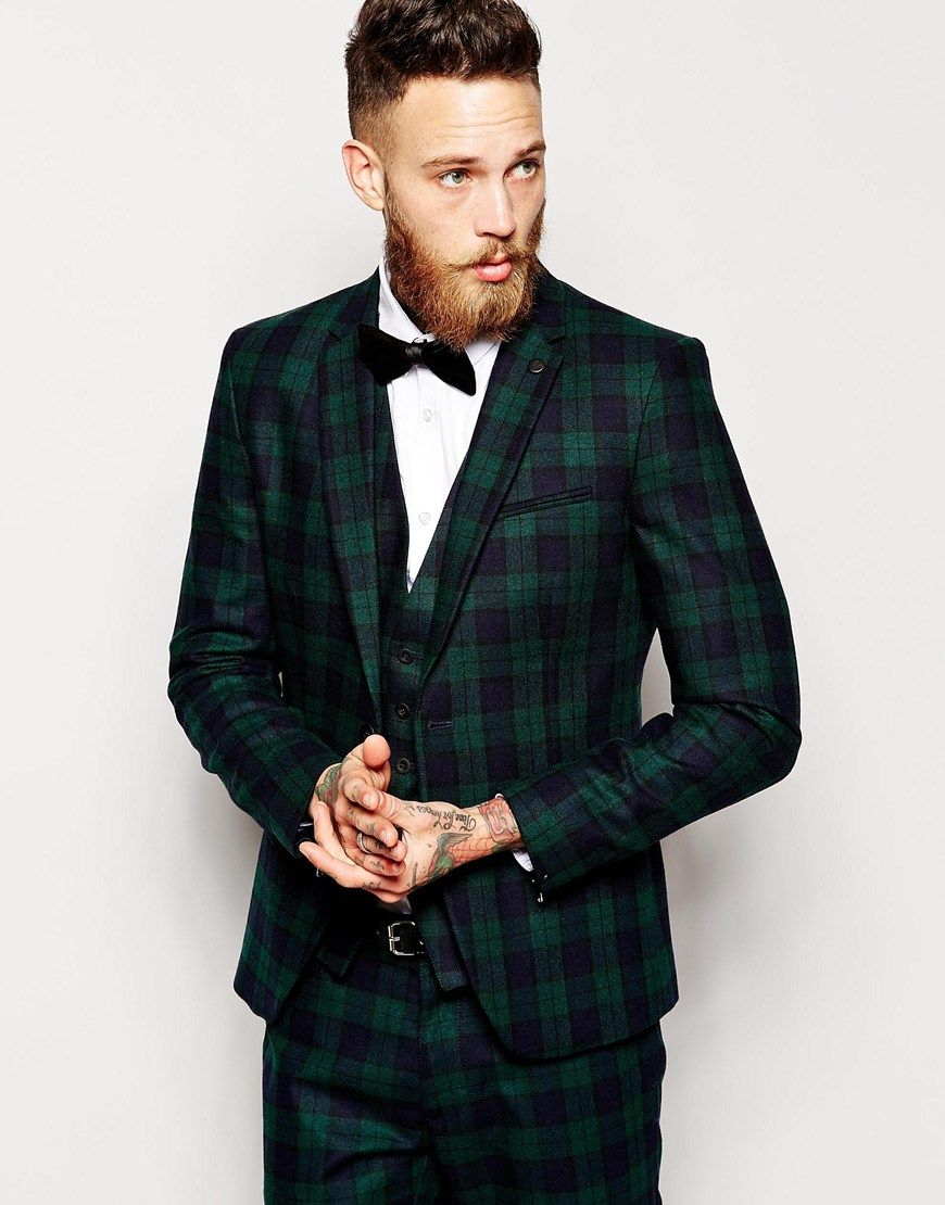 Sisley Tartan Suit Jacket In Slim Fit | My vegas wedding ...