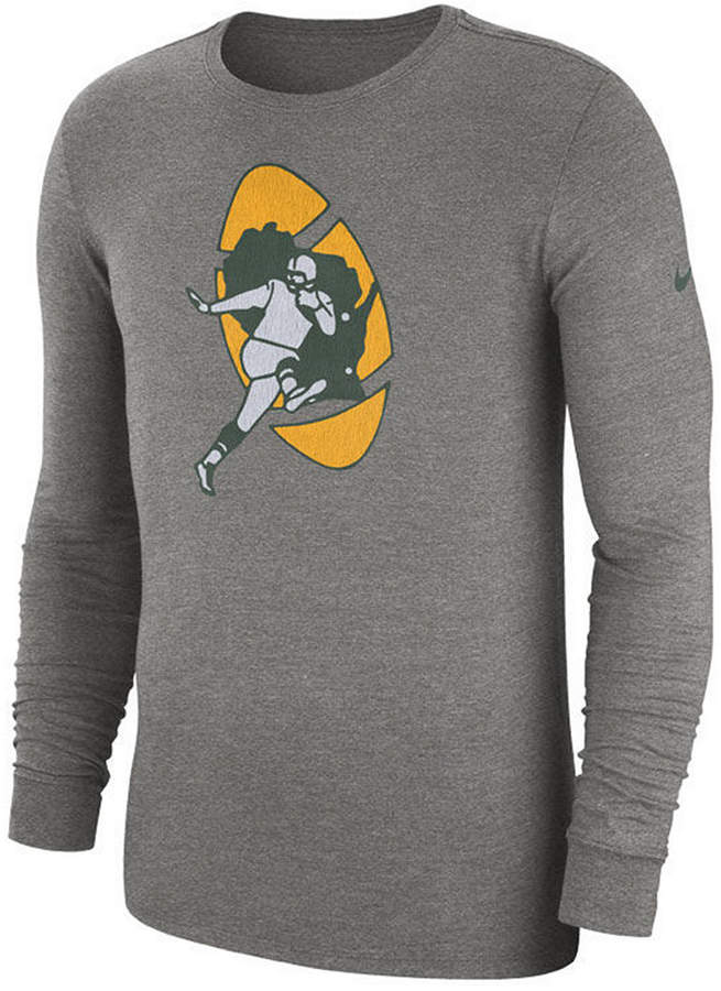 857be9552c2 Nike Men s Green Bay Packers Historic Crackle Long Sleeve Tri-Blend T-Shirt
