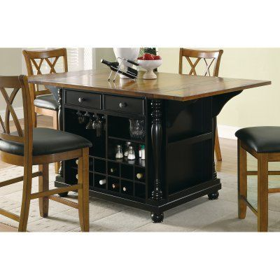 Coaster Furniture Stationary Kitchen Island with Drop Leaves ...