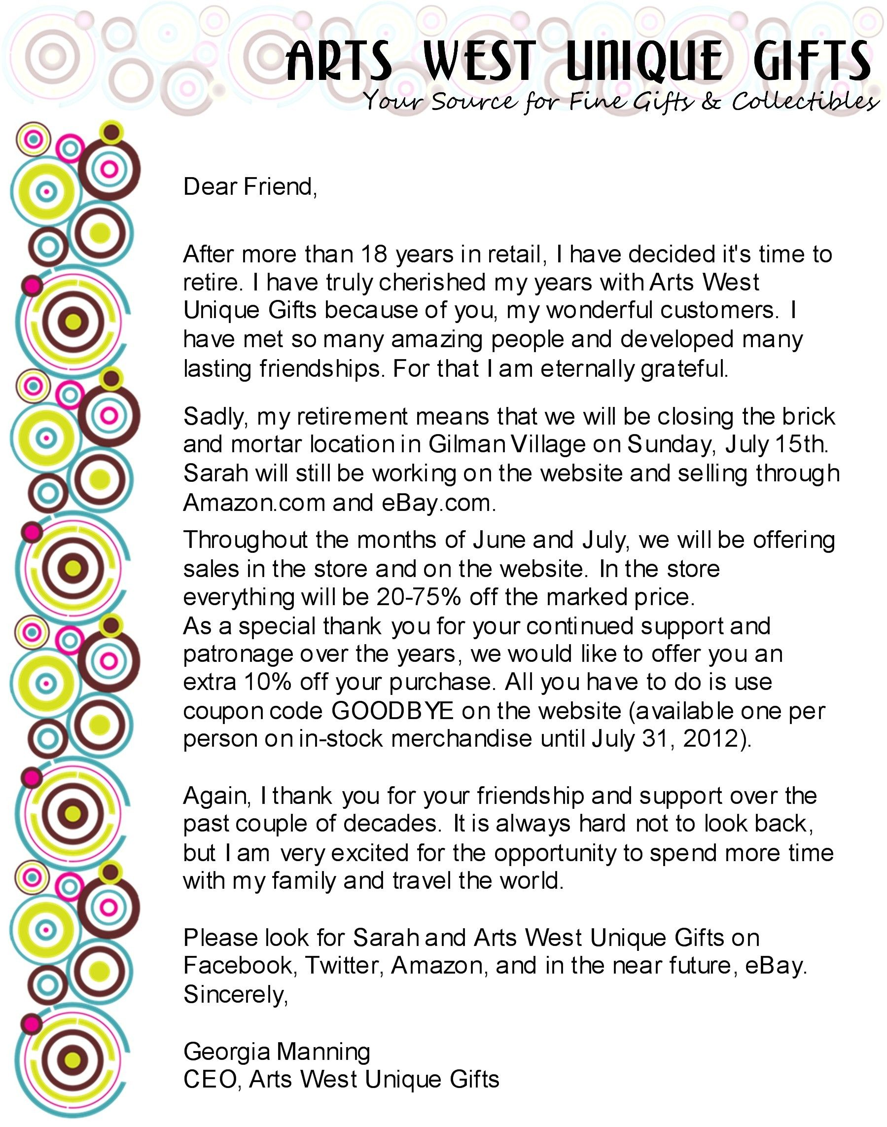 store closing letter to customers Arts West Unique Gifts Store Closing LetterClosing A Letter Formal ...