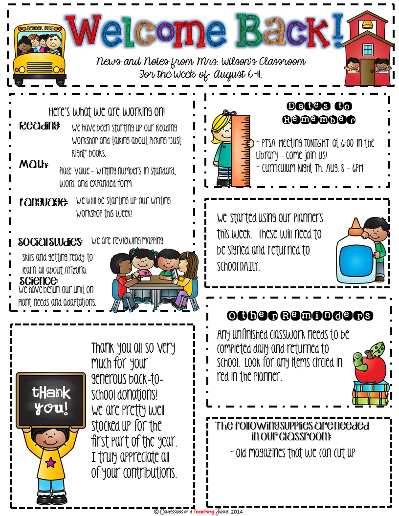 Seasonal classroom newsletter templates for busy teachers for Primary school newsletter templates