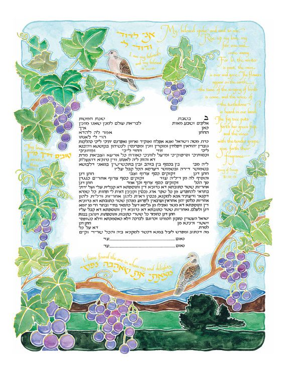 Ketubah Unique Personalized Jewish Wedding Contract Illuminated Reform Marriage Vows Modern Watercolor Katuba Custom Calligraphy Certificate