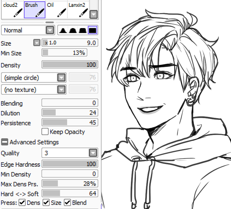 Sai Lineart : Kkumri s brush settings for lineart paint tool sai