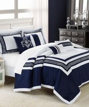 This Blue Venice Embroidered Comforter Set By Chic Home Design Is