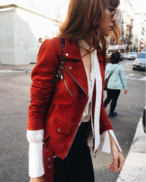 Veda   red suede moto jacket as seen on @natalieoffduty