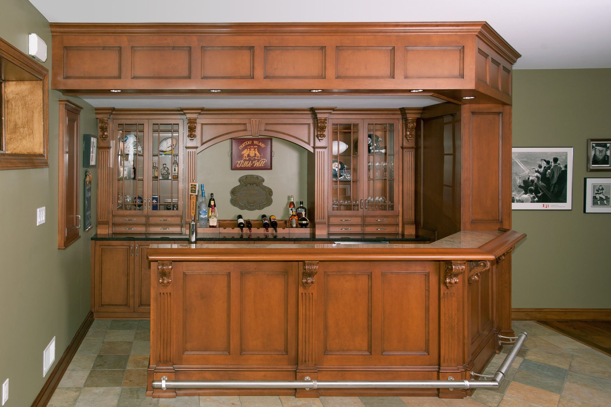 Irish pub style inspired home bar with a clipped angled corner and ...