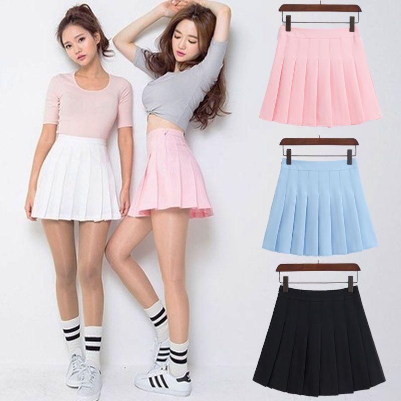 01751531fe Spring high waist ball pleated skirts Denim Skirts solid a-line sailor skirt  #promdresses