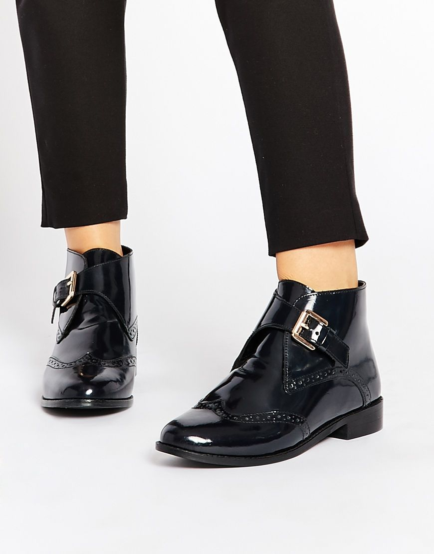 Buy Women Shoes / Asos After All Leather Brogue Ankle Boots