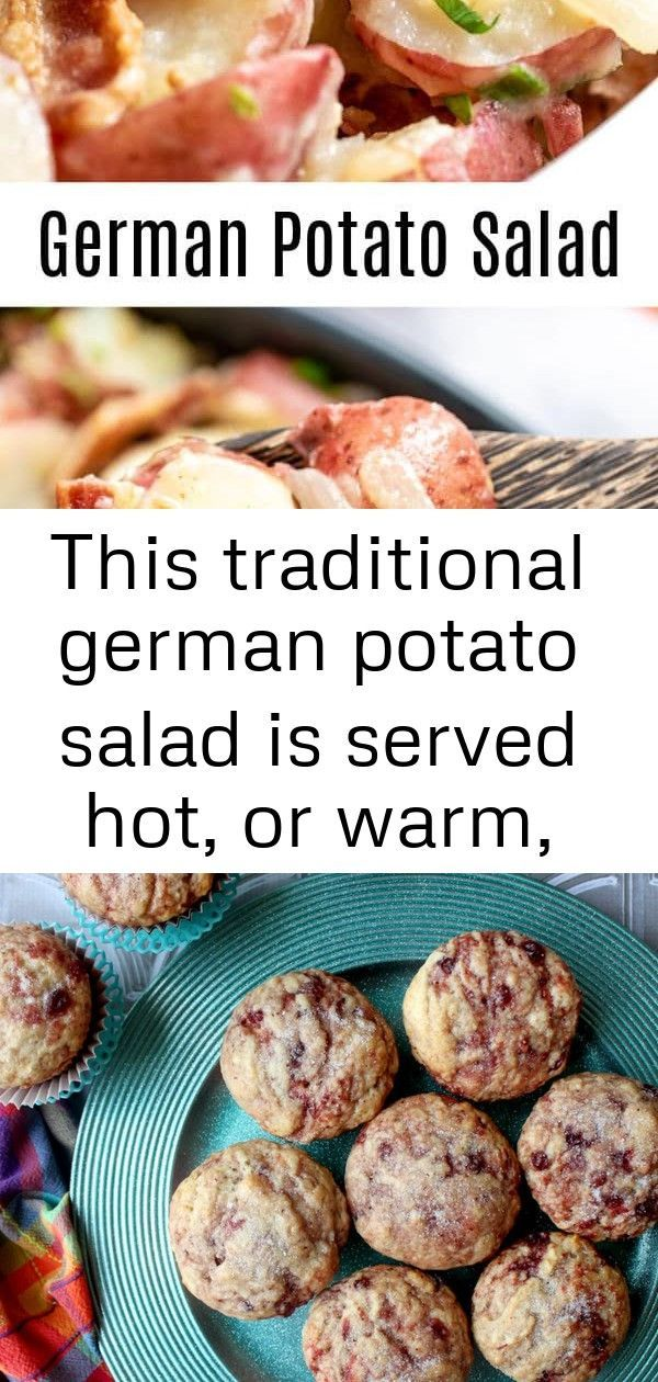 Photo of This traditional german potato salad is served hot, or warm, (you can serve it c…