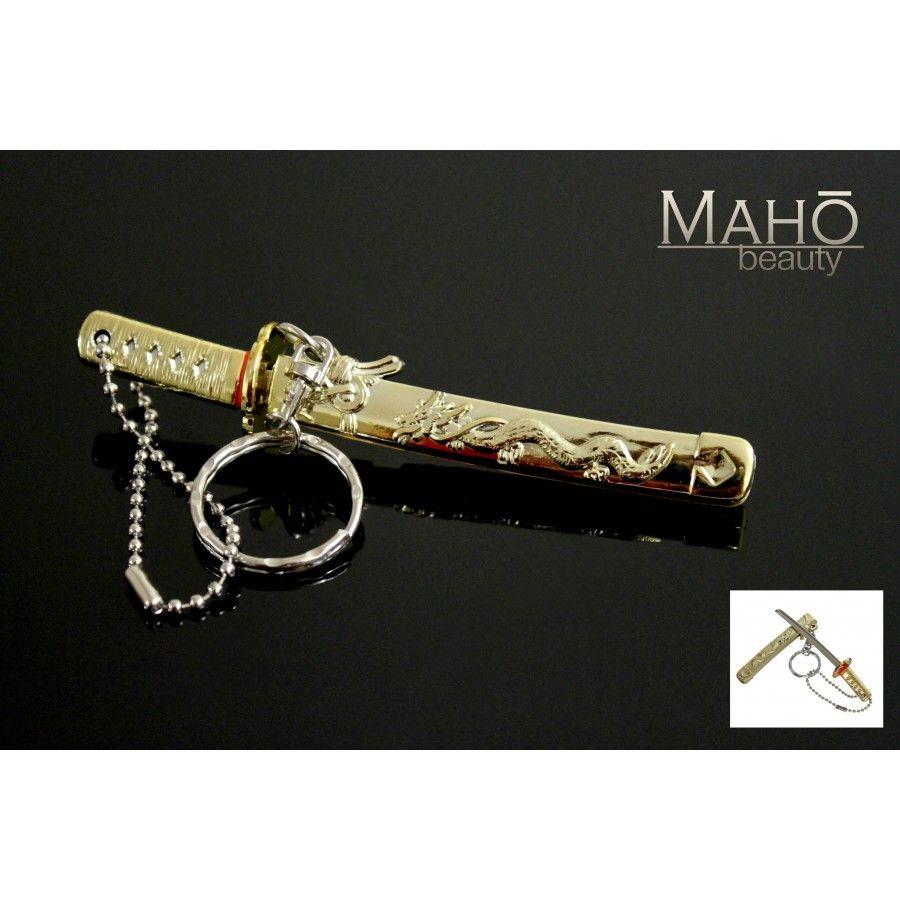 Miniature Japanese Samurai Sword Katana With A Key Ring Golden