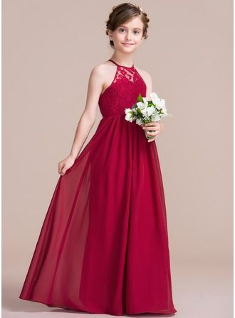 668a639b3f A-Line/Princess Scoop Neck Floor-Length Zipper Up Spaghetti Straps  Sleeveless No Burgundy General Chiffon Junior Bridesmaid Dress