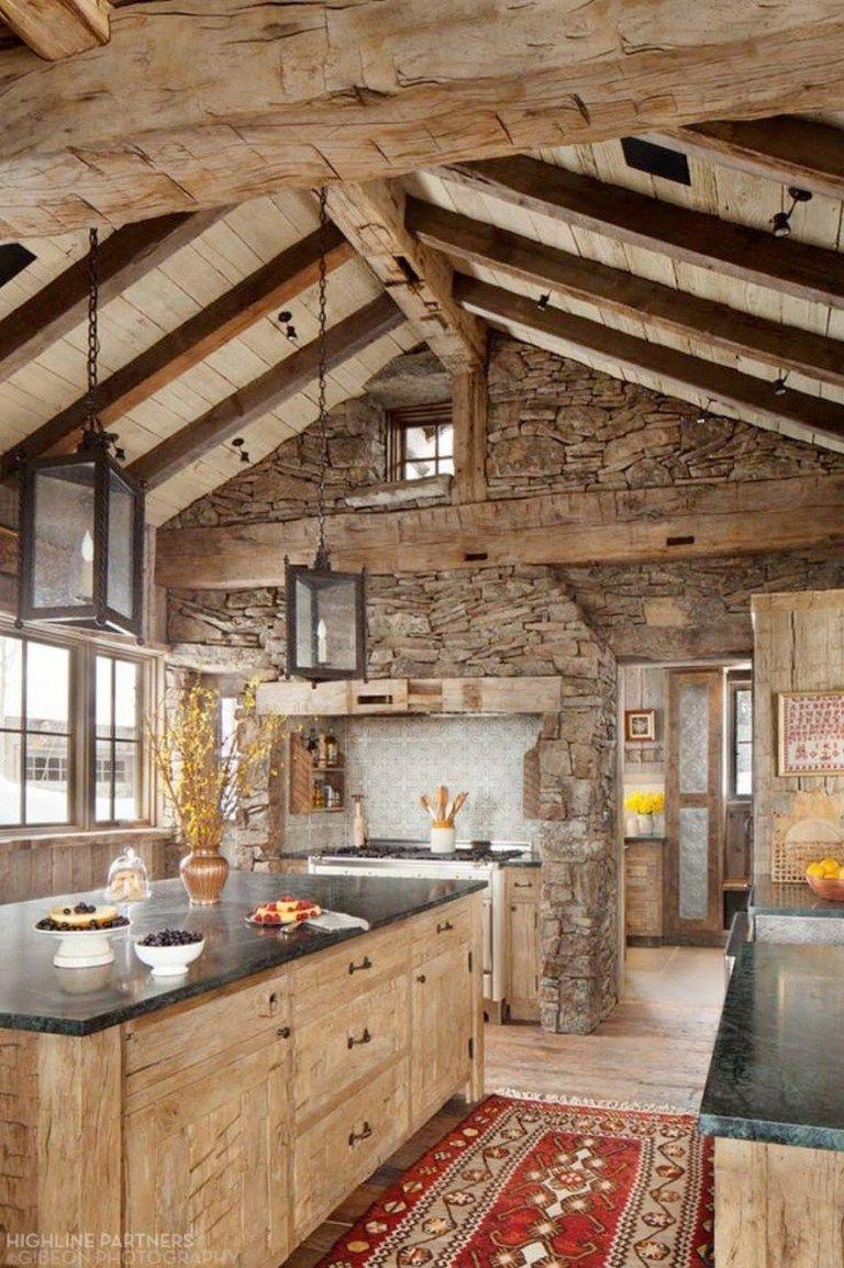 40 Amazing Rustic Homes Fireplace Design Ideas 15 Fieltro Net In 2020 Rustic Kitchen Rustic Farmhouse Kitchen Rustic Kitchen Design