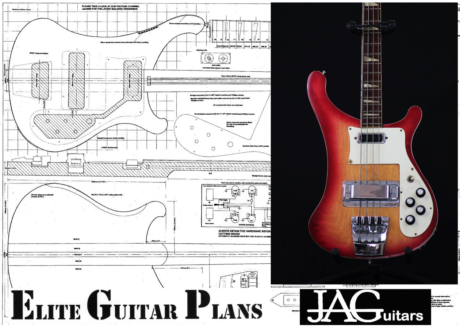 Full size plan to build a Rikki Bass Guitar