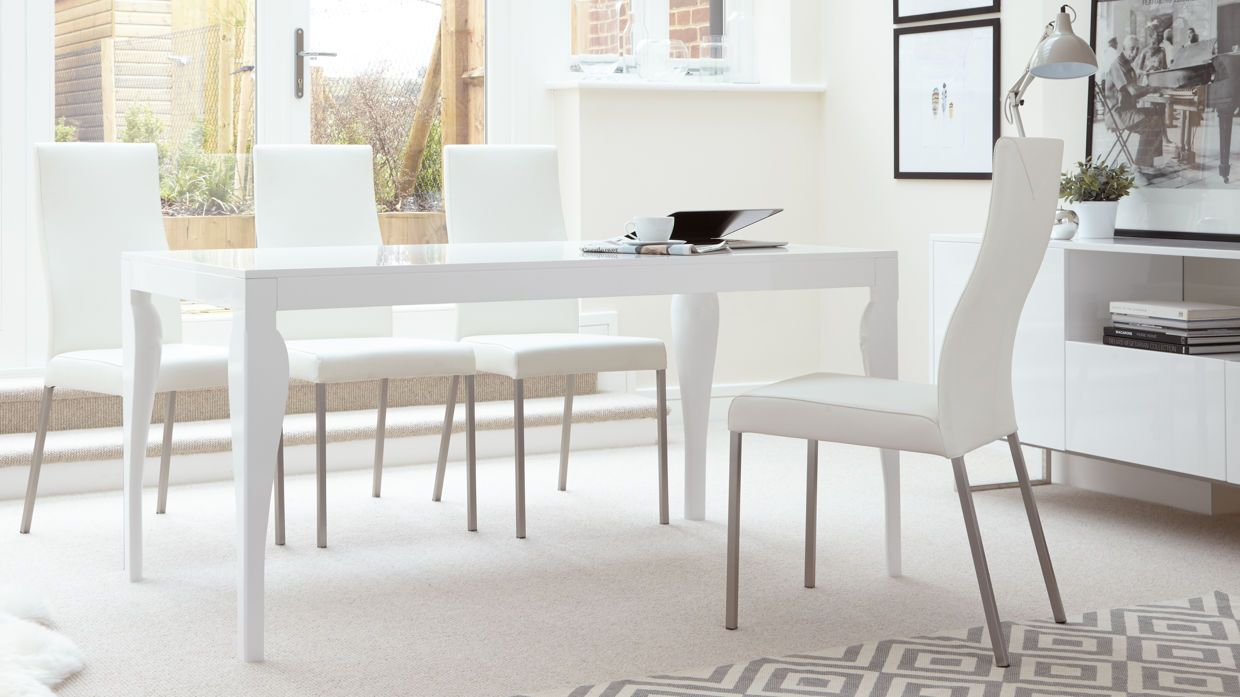 Merveilleux Eva 6 Seater White Gloss Dining Table £199.00