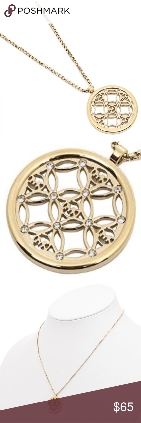 michael kors monogram gold pendant necklace nwt michael kors michael kors monogram gold pendant necklace this michael kors pendant necklace flaunts a chic circular charm mozeypictures Image collections