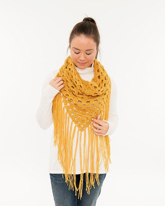 Mustard Fringe Triangle Scarf Lightweight by BrennaAnnHandmade