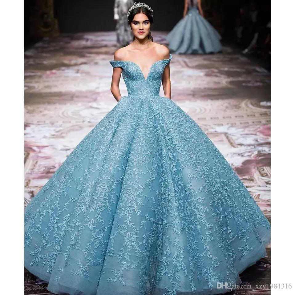 Gorgeous applique zuhairmurad evening dress charming light blue off