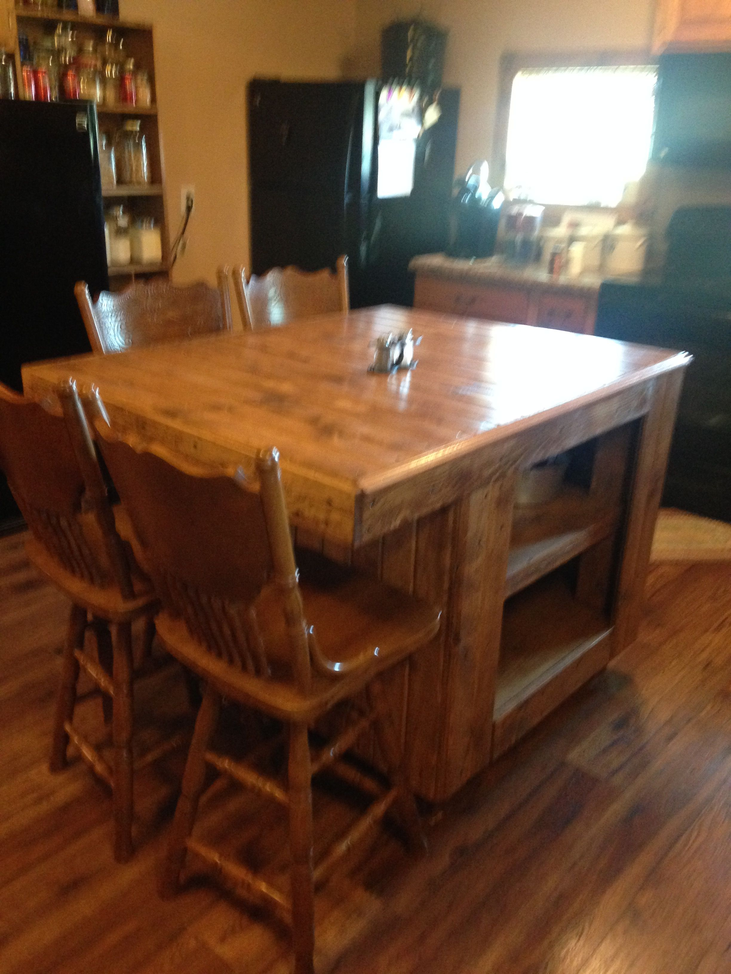 Rustic Kitchen Island My Husband Made This For Me Seating On Two