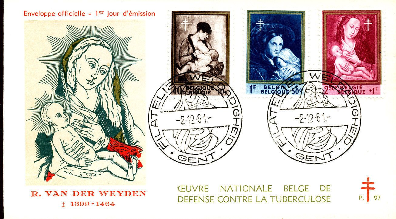 Belgium Breastfeeding stamps and postcard Stamp