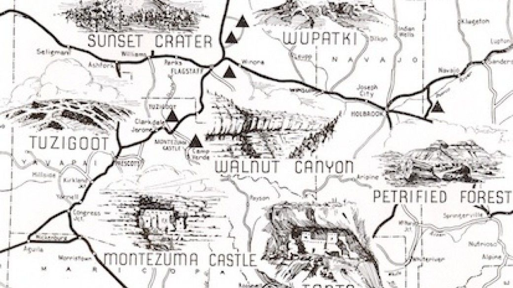 National Parks Arizona Map.From The Archives George Avey S National Parks Map Arizona