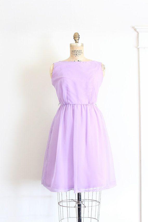 Vintage 1960s dress // 60s lavender chiffon dress   1960s dresses ...