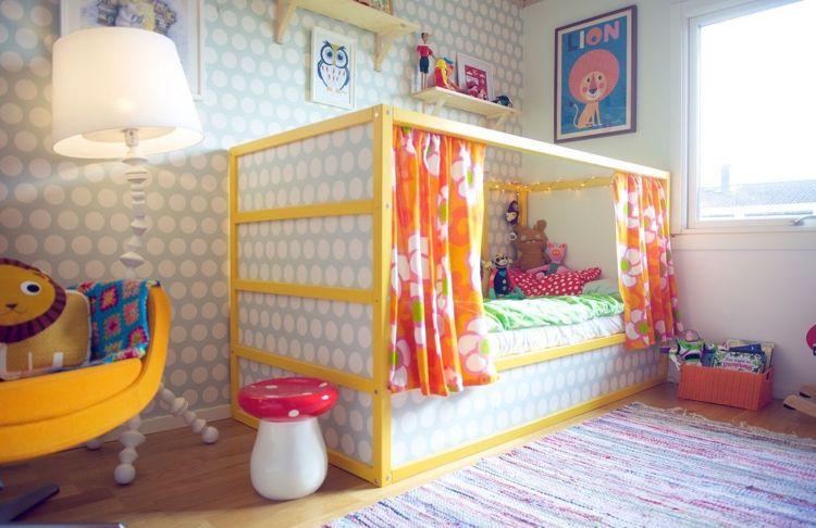 Ikea Kura Bett Umgestalten Farbe Gelb Tapete Beziehen Bedroom Kids