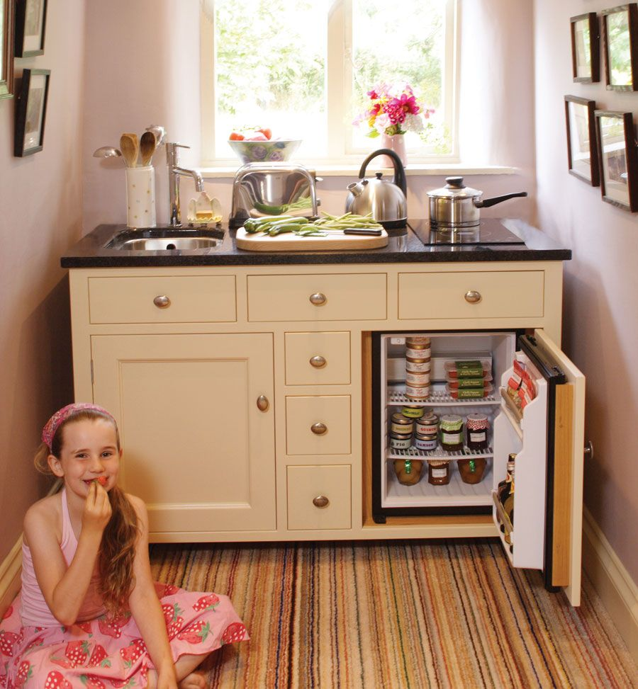 Complete kitchenette base like how the fridge is attached to the