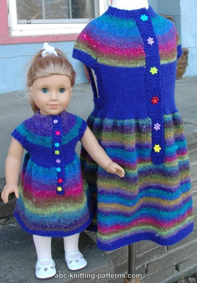 ABC Knitting Patterns - American Girl Doll Round Yoke Dress | Knit ...