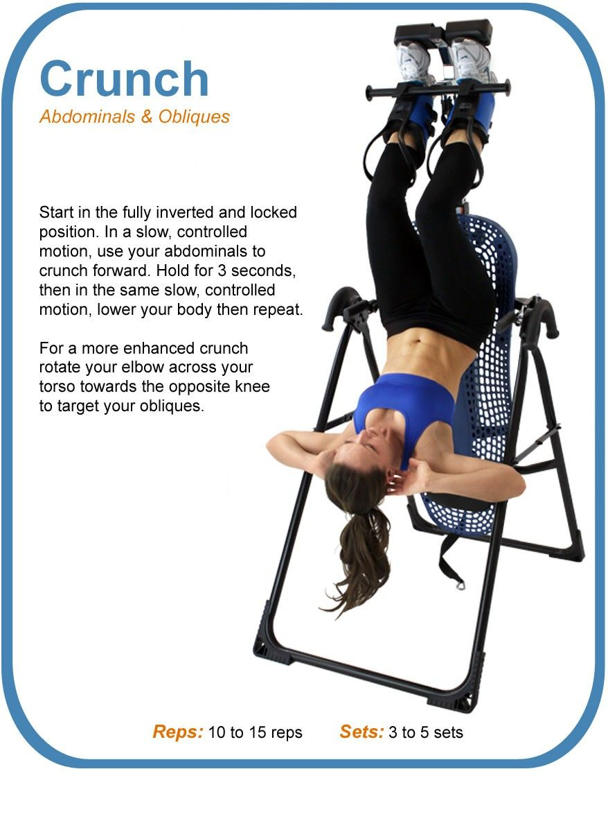 Inverted Crunches Feeltheburn Inversion Table Exercise Inversion Therapy