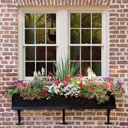 Flower boxes for spring and summer.