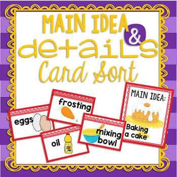 Main Idea And Details Card Sort With Digital Activity Sorting Cards Main Idea Main Idea Lessons