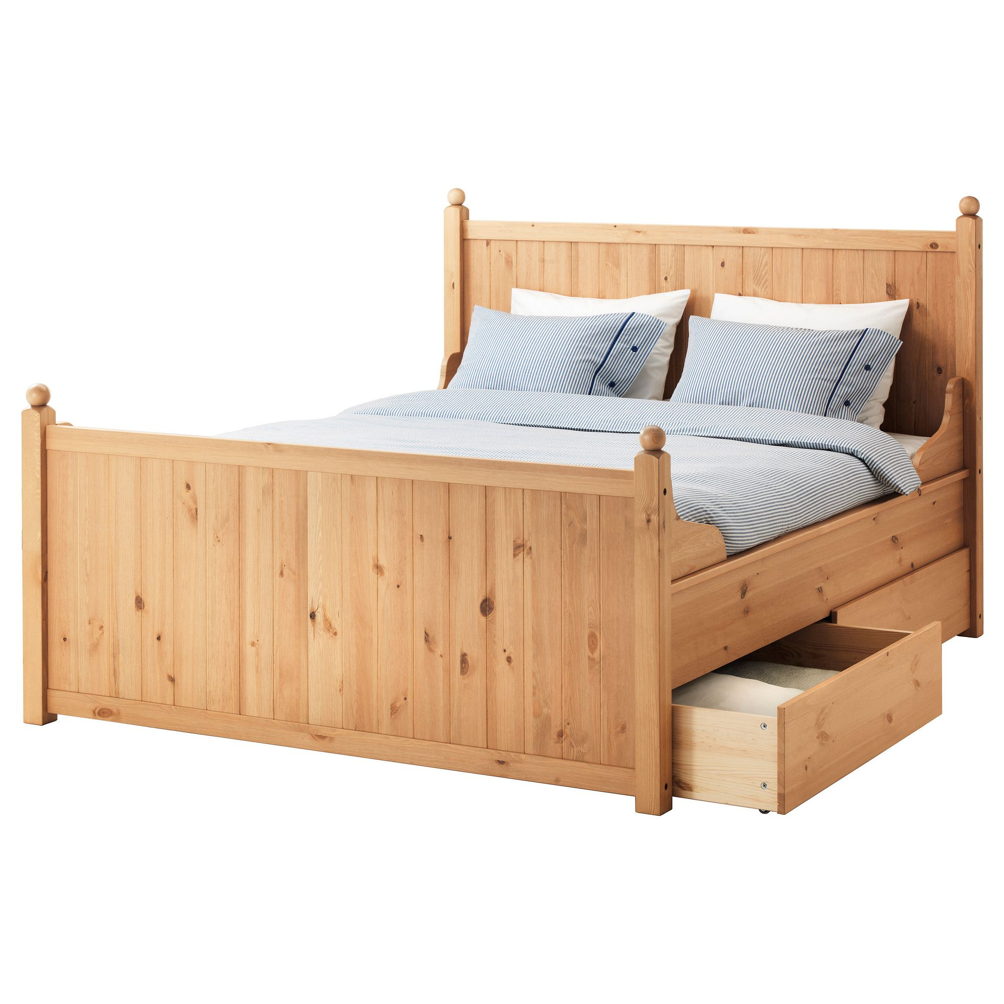 HURDAL Bed frame with 4 storage boxes - Queen, Lönset - IKEA | IKEA ...