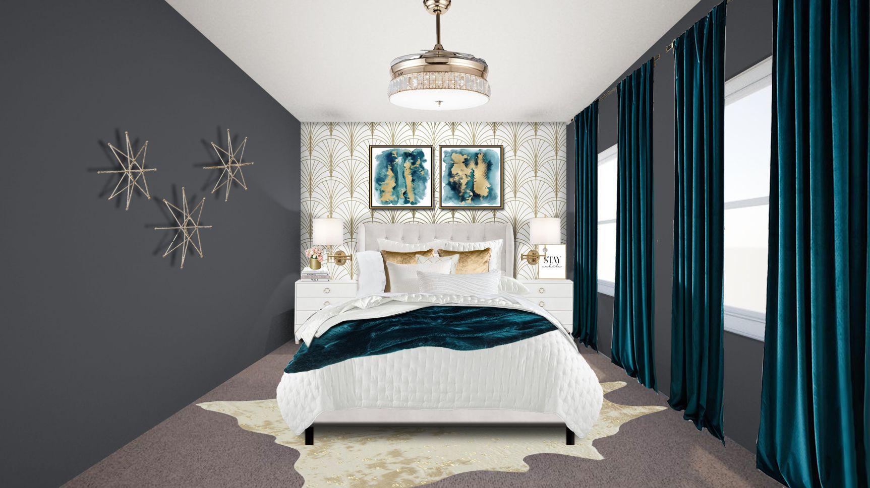 Modern Glam Guest Bedroom In 2020 Guest Bedroom Online Interior Design Interior Design