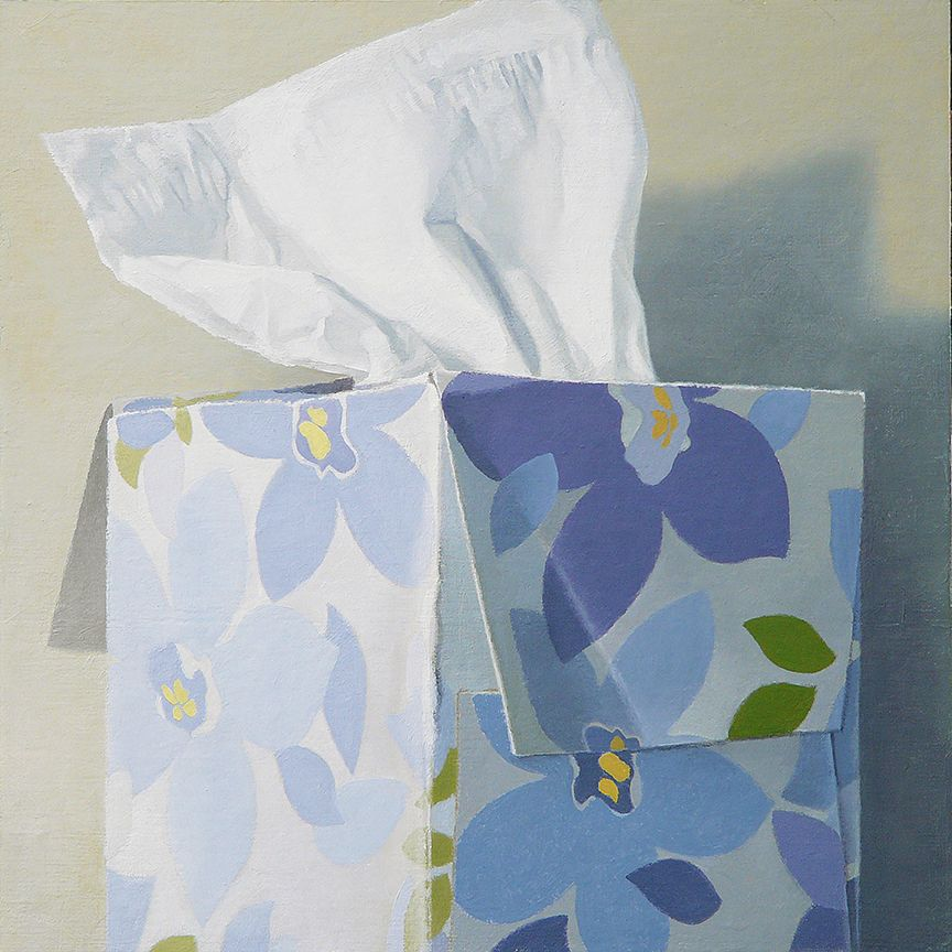"""Tissue Box - Blue Floral  oil on panel   12"""" x 12"""""""