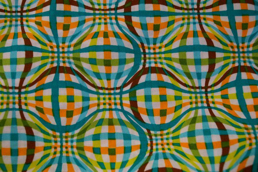 Stenzo15 7000-08 Cotton poplin fantasieruit turquoise/oranje/lime