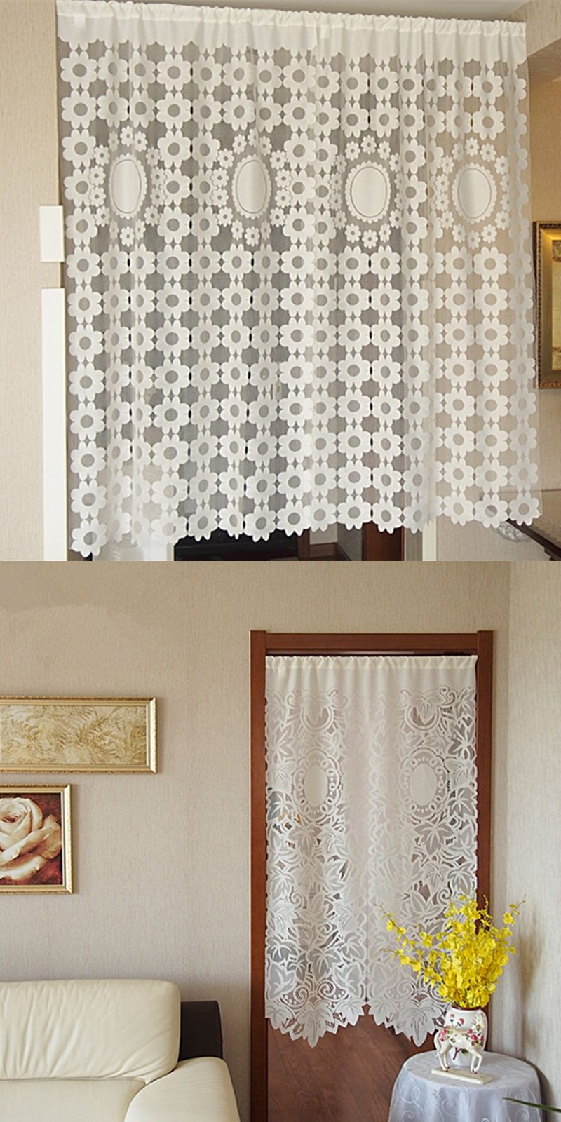 1piece Korean Style Door Screens 2 Designs Door Curtains Polyester Net Yarn  Rustic Kitchen/ Bedroom