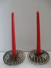 2 Vtg Atomic Retro Spiral Spring Wire Candle Holders Mid Century Black & Brass
